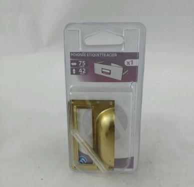Poignée étiquette à clouer L.75mm l.42mm P.15mm Acier laitonné