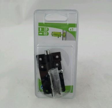 Targette de porte à visser sur la porte noirci 55mm à pêne rond L80xH38xP13mm