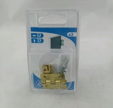 Charnière rectangulaire simple feuille, pour vis Ø2 mm, L22xH35xEp0.8mm