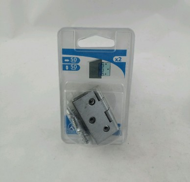 Charnière carrée renforcée, double feuille, pour vis Ø3 mm, L50xH50xEp1,6mm