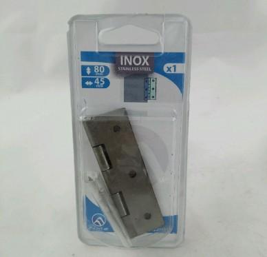 Charnière rectangulaire simple feuille, pour vis Ø3,5 mm, L45xH80xEp1,2mm