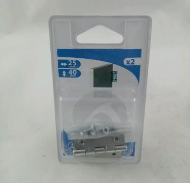 Charnière rectangulaire simple feuille, pour vis Ø3 mm, L25xH40xEp1mm