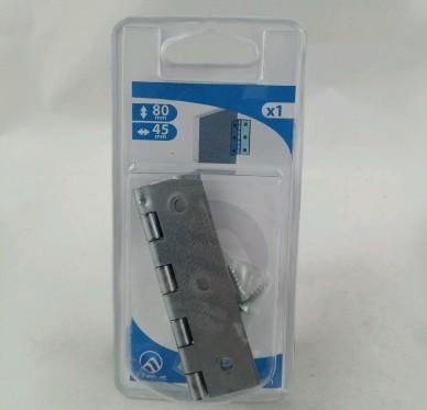 Charnière rectangulaire simple feuille, pour vis Ø3,5 mm, L45xH80xEp1mm