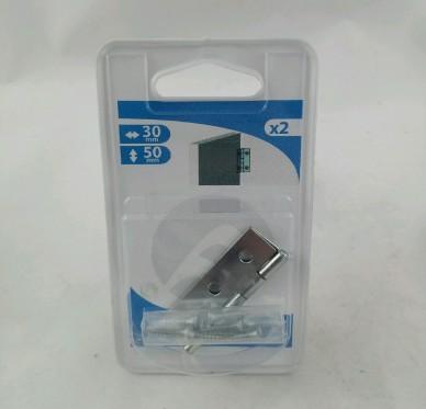 Charnière rectangulaire simple feuille, pour vis Ø3 mm, L30xH50xEp1mm