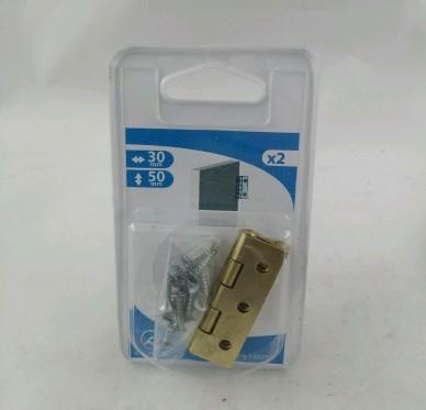 Charnière rectangulaire simple feuille, pour vis Ø2,5 mm, L30xH50xEp0,9mm