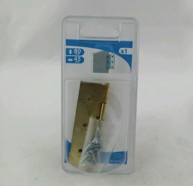 Charnière rectangulaire simple feuille, pour vis Ø4,5 mm, L50xH100xEp1.5mm