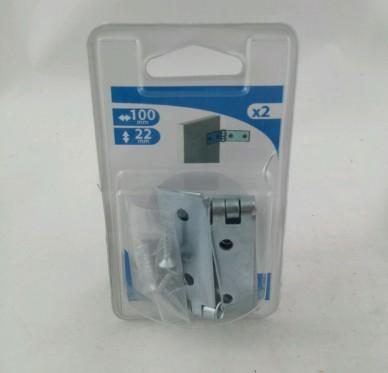 Charnière large dite de coulisse de lit, pour vis Ø4 mm, L100xH22xEp1.5mm