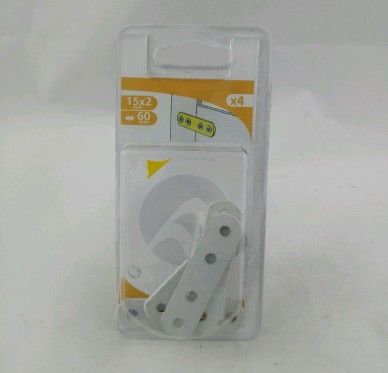 Patte d'assemblage, bouts ronds, L080xH15xEp2 mm, acier époxy blanc