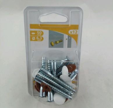 Vis d'assemblage + caches blanc et brun à étages PZ3 L50 D10 D7D mm