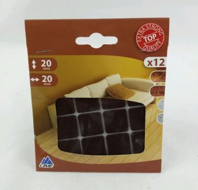 Patin carré adhésif, L20xl20mm, brun