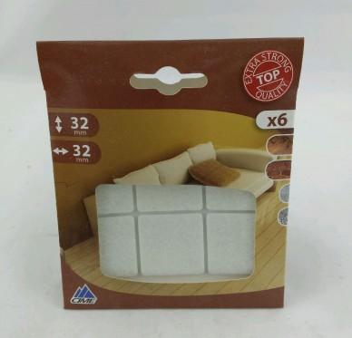 Patin carré adhésif, L20xl20mm, blanc