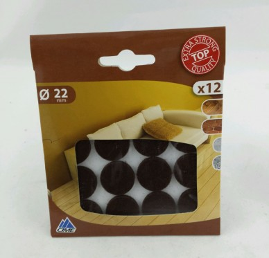 Patin rond adhésif, Ø22 mm, brun