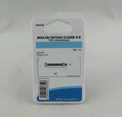 Boulon metaux L40xDi6mm