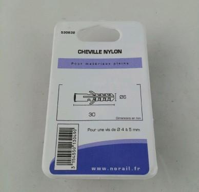 Cheville nylon L30xDi6mm