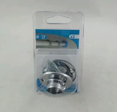 Support d'extrémité pour tube de penderie Ø 19 mm Acier chromé