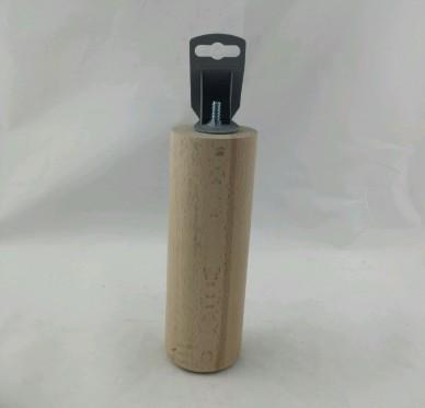Pied cylindrique pour lit + vis filetée M8 Diam 68mm x H 200mm Hêtre brut