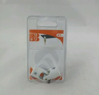 Genouillère, pour tige 6 pans de 10 mm et tringle Ø 12 mm, acier revêtu polyester blanc