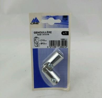 Genouillère, pour tige 6 pans de 10 mm et tringle Ø 12 mm, acier chromé