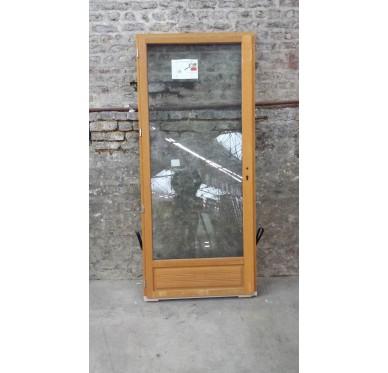 Porte-fenêtre en Bois Exotique 1 vantail tirant droit  H205 x  L80 cm