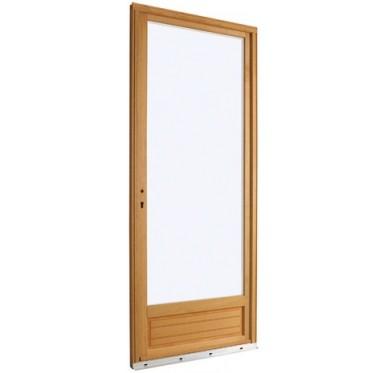 Porte-fenêtre en Bois Exotique 1 vantail tirant gauche  H205 x  L80 cm