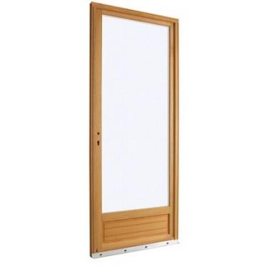 Porte-fenêtre en Bois Exotique 1 vantail tirant droit  H215 x  L90 cm