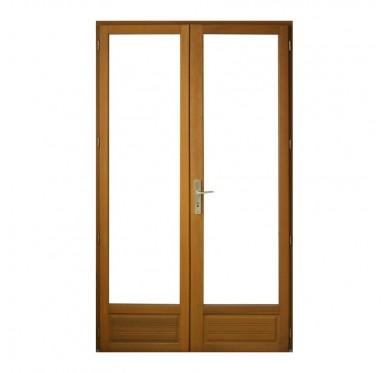Porte fenêtre 2 vantaux en bois exotique H205 x L140 cm