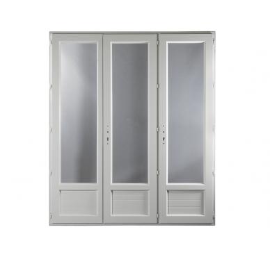 Porte-fenêtre PVC Gamme E.PRO 3 vantaux tirant droit H 215 x L 180 cm