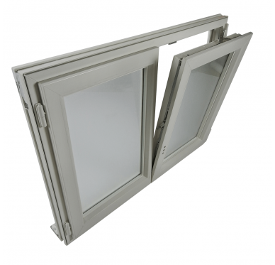 Fenêtre PVC Gamme E.PRO 2 vantaux oscillo-battante verre granité H 75 x L 100 cm