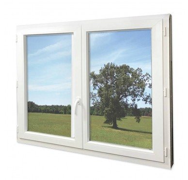 Fenêtre PVC Gamme E.PRO 2 vantaux oscillo-battante H 115 x L 100 cm