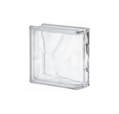 Brique de verre terminale ondulée transparente 19x19x8cm