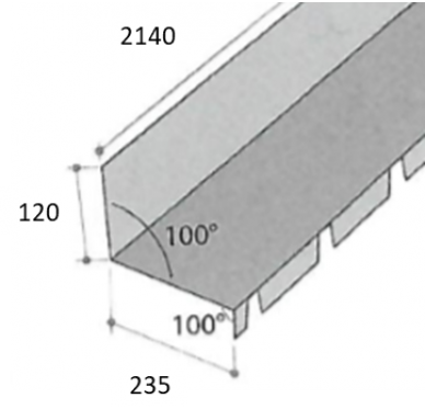 Faitage contre mur 2150 X 400 cm
