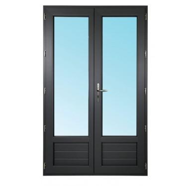 Porte-fenêtre 2 vantaux en PVC H205xL120cm