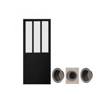 Porte coulissante atelier noire 204 x 83 cm