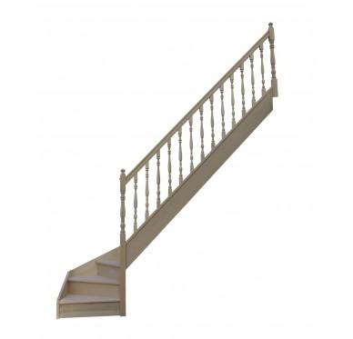 Escalier 1|4 bas droit avec contremarche H280XR280CM