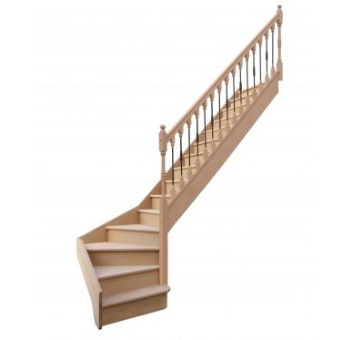 Escalier 1|4 bas droit avec contremarche H280XR255CM