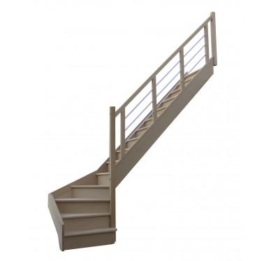 Escalier 1|4 bas droit avec contremarche H272XR280CM
