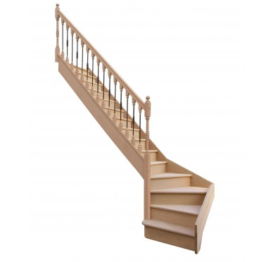 Escalier 1|4 bas gauche avec contremarche H272XR255CM