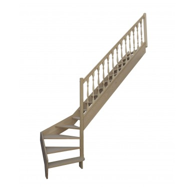 Escalier 1 4 bas droit sans contremarche H272XR255CM