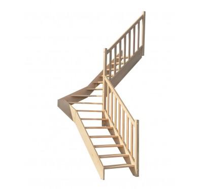 Escalier 1|4 milieu droit sans contremarche H300XR201CM