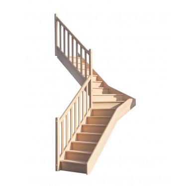Escalier 1 4 milieu gauche sans contremarche H300XR201CM