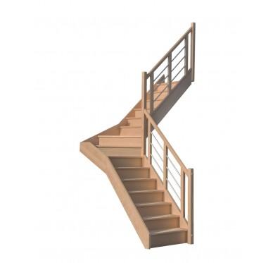 Escalier 1|4 millieu droit avec contremarche H300XR201CM