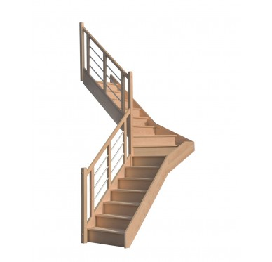 Escalier 1|4 milieu gauche sans contremarche H300XR201CM
