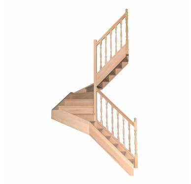 Escalier 1|2 tournant droit avec contremarche H300CM