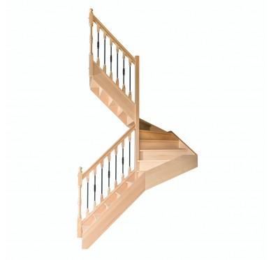 Escalier 1|2 tournant gauche avec contremarche H300CM