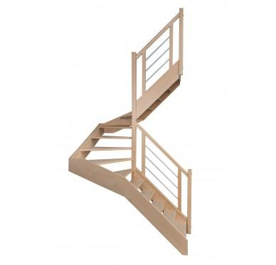 Escalier 1|2 tournant droit sans contremarche H300CM