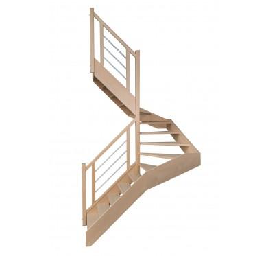 Escalier 1 2 tournant gauche sans contremarche H300CM