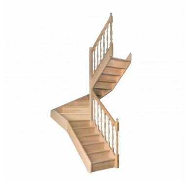 Escalier 1|2 tournant droit avec contremarche H280CM