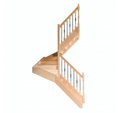 Escalier 1 2 tournant droit avec contremarche H280CM
