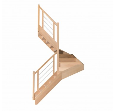 Escalier 1|2 tournant gauche avec contremarche H280CM