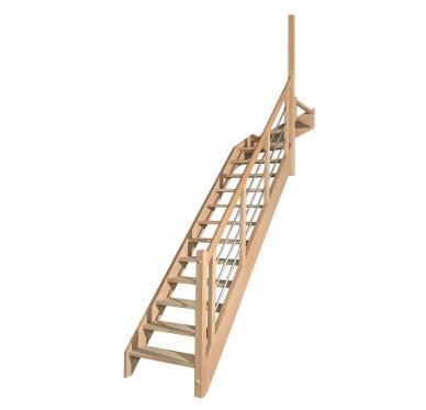 Escalier 1|4 haut droit sans contremarche H280XR291CM